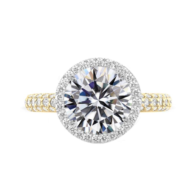 5 ct Round Moissanite & Diamond Halo Three Row Ring Two Tone