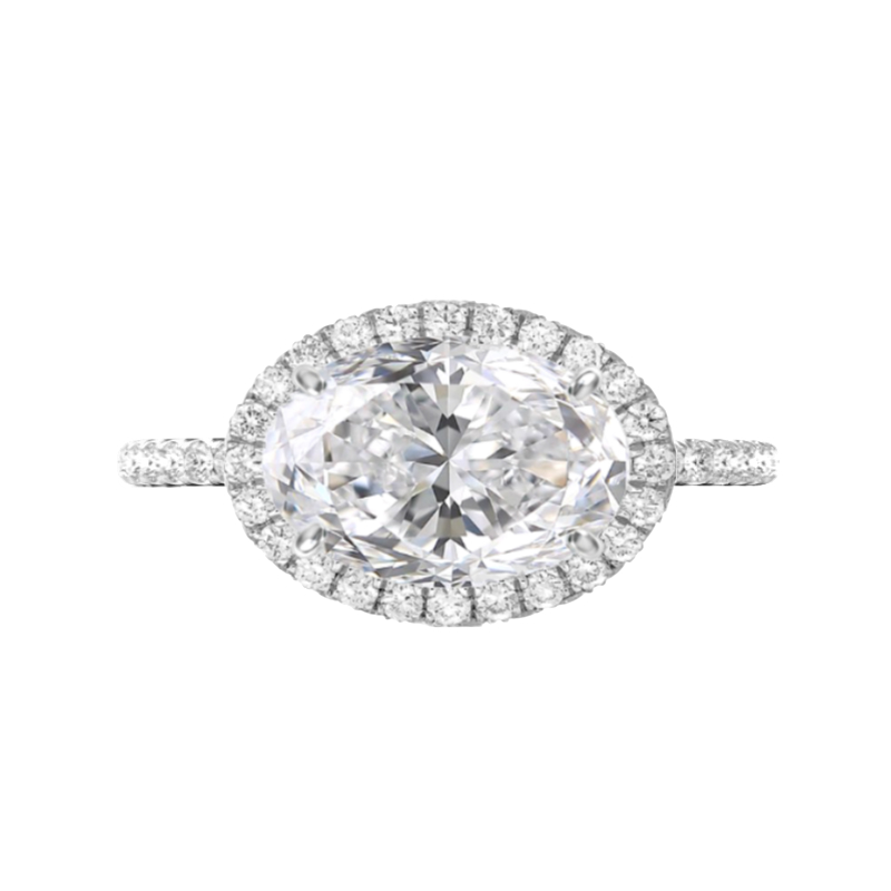 5 Carat Oval Moissanite & Diamond Halo East West Ring