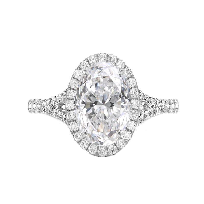 4.70 Carat Oval Moissanite & Diamond Halo Split Shank Ring