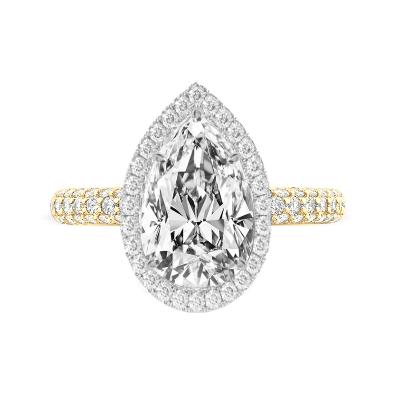 5 Carat Pear Moissanite & Diamond Double Edge Halo Three Row Pave Ring