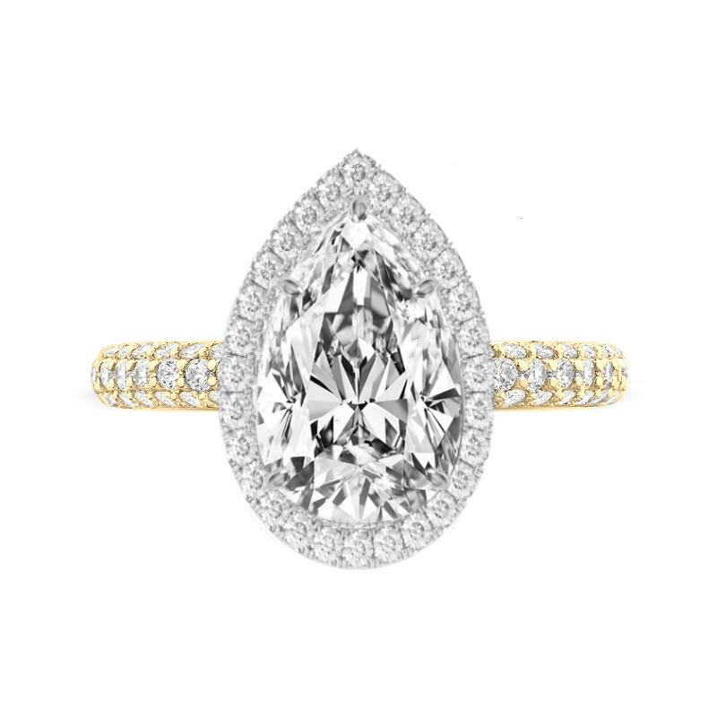 5 Carat Pear Moissanite & Diamond Double Edge Halo Three Row Pave Ring