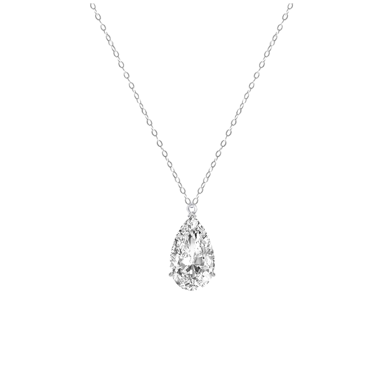 5 Carat Pear Diamond Solitaire Pendant Necklace