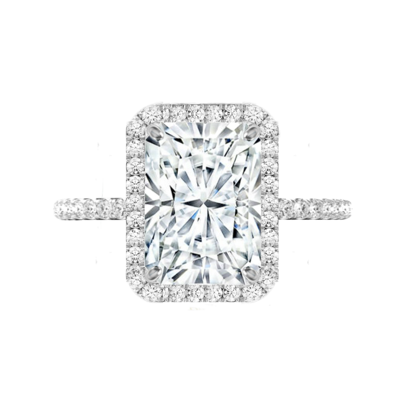 5 Radiant Moissanite & Diamond Double Edge Halo Ring