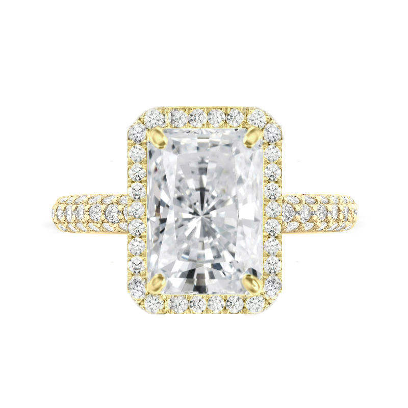 5 Carat Radiant Moissanite & Diamond Double Edge Halo Three Row Pave Ring