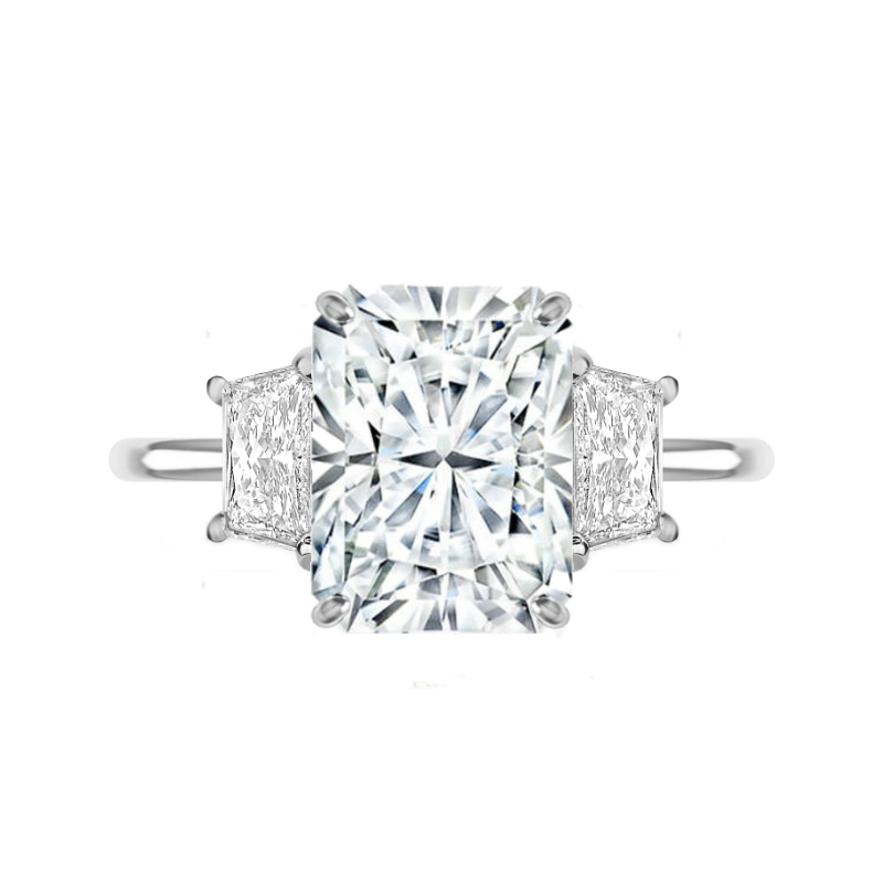 5 Carat Radiant Moissanite & Trapezoid Diamond Ring