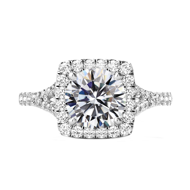 5 ct Round Moissanite & Diamond Cushion Halo Split Shank Ring