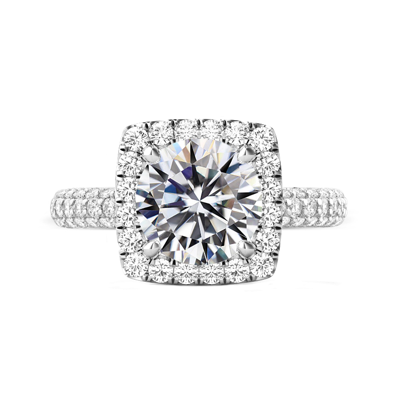 5 Carat Round Moissanite & Diamond Cushion Halo Three Row Pave Ring