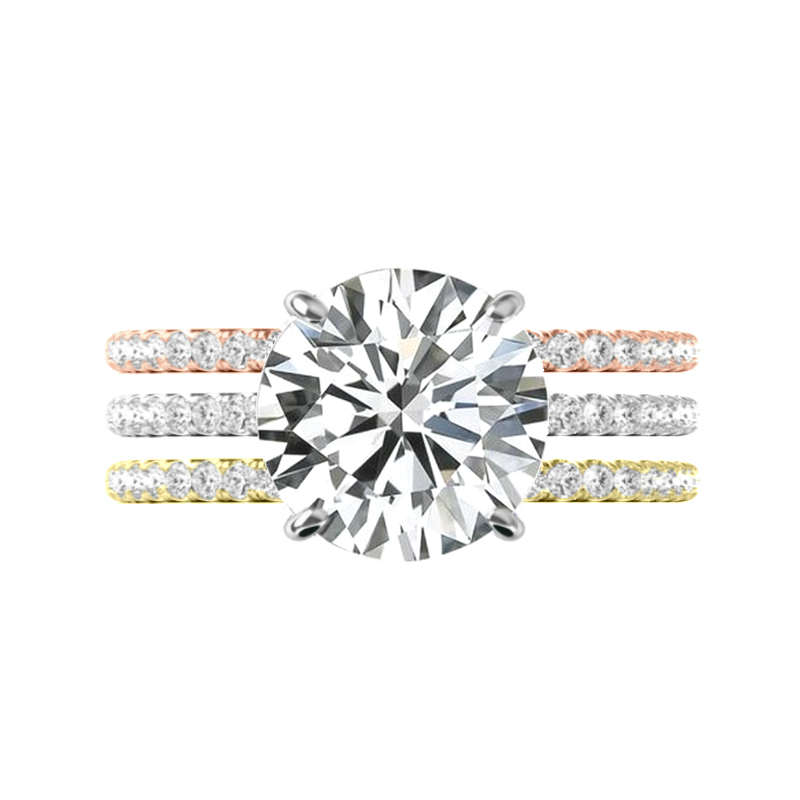 5 Carat Round Moissanite & Hidden Halo Tri Color Three Ring Set