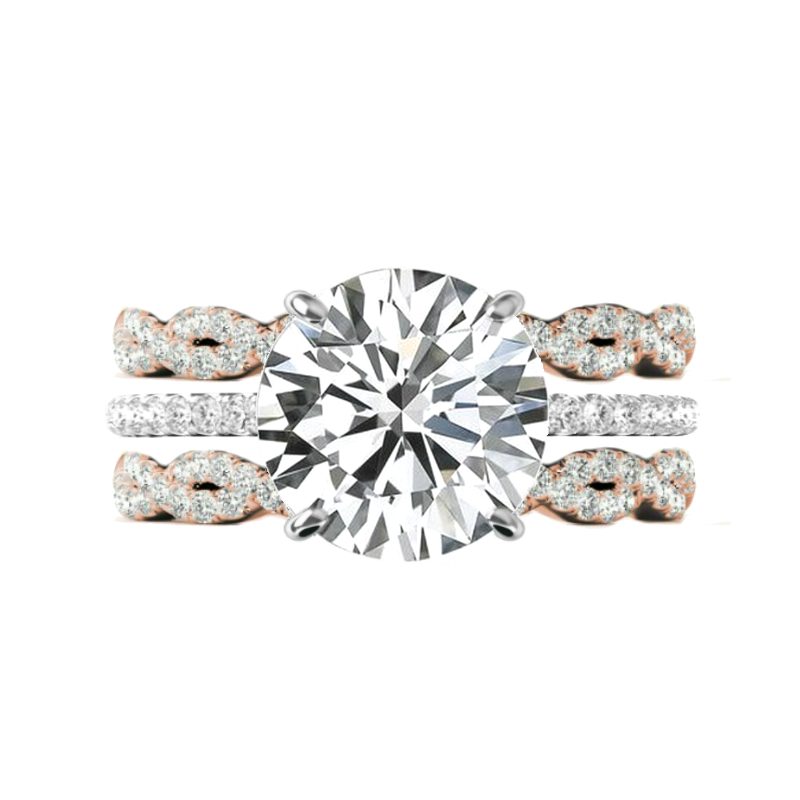 5 Carat Round Moissanite & Rose Gold Diamond Infinty Band Set