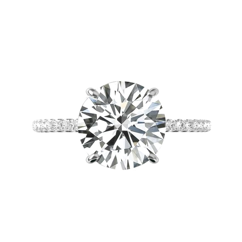 5 Carat Round Harro Moissanite & Hidden Halo Engagement Ring