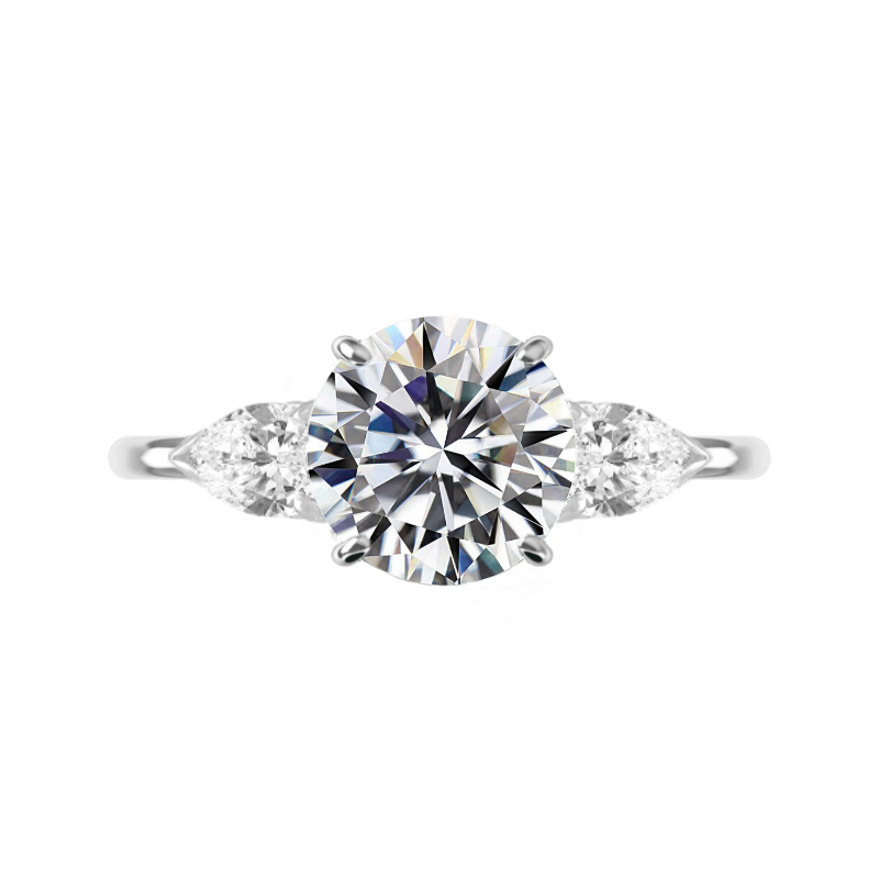 5 Carat Round Moissanite & Pear Diamond Three Stone Ring