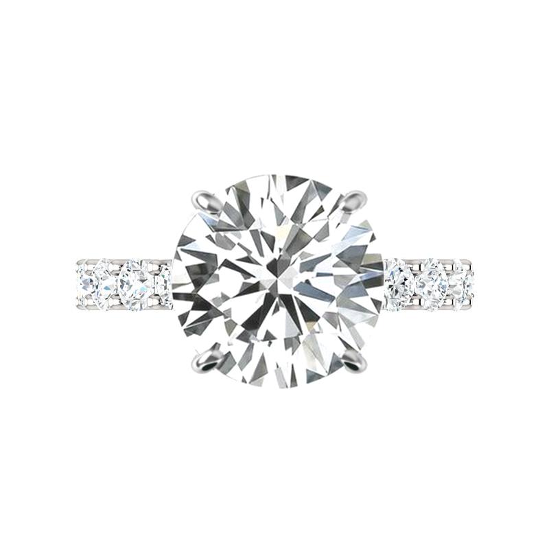 5.80 Carat Round Harro Moissanite & 3mm Diamond U Shape Engagement Ring