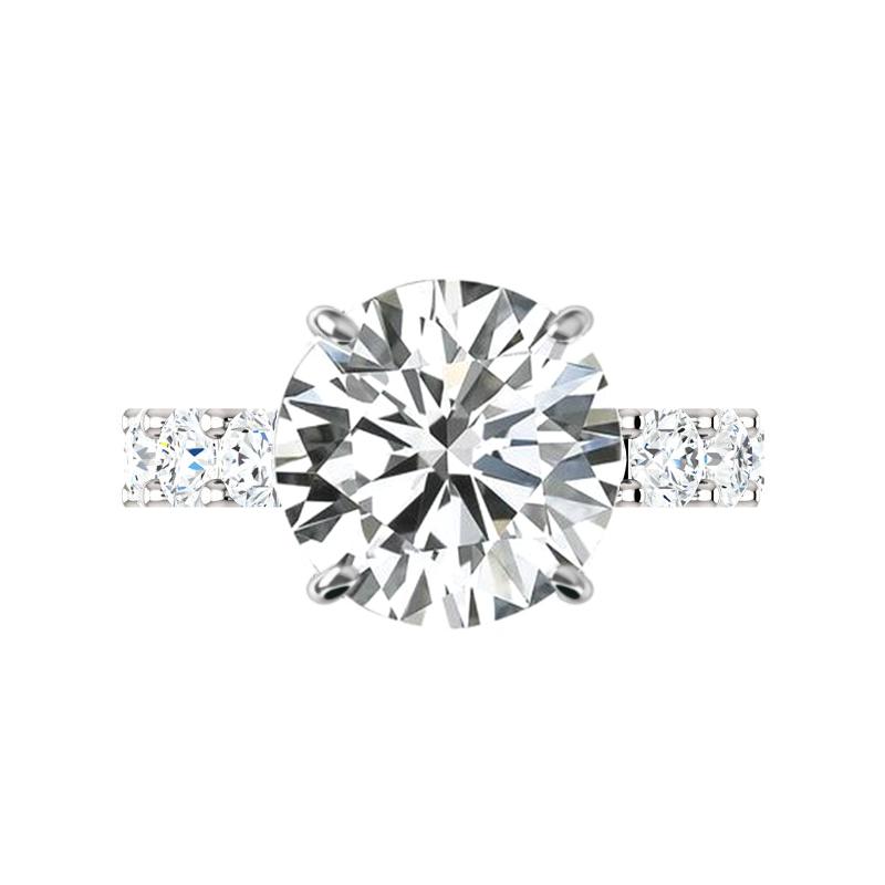 5.80 Carat Round Moissanite & 4mm Diamond U Shape Engagement Ring