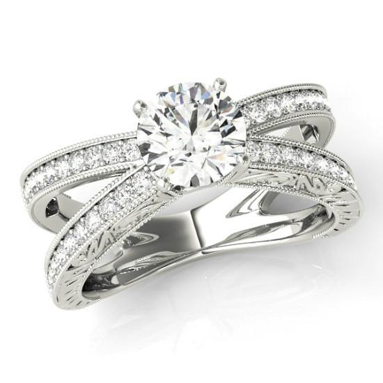 2 Carat Round Moissanite & Diamond Split Shank Carved Ring