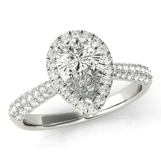 0.75 Carat Pear Diamond & Halo Three Row Pave Engagement Ring