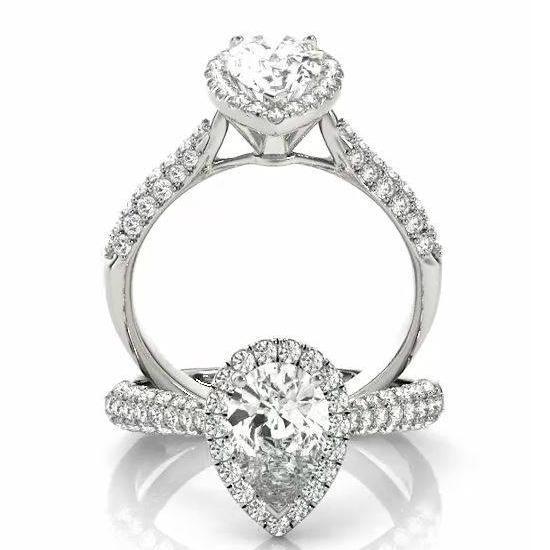 0.75 Carat Pear Diamond & Halo Three Row Pave Engagement Ring