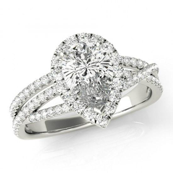 1 Carat Pear Diamond & Halo Multi Row Ring