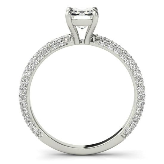 1.00 Carat Emerald Diamond & Three Row Pave Ring