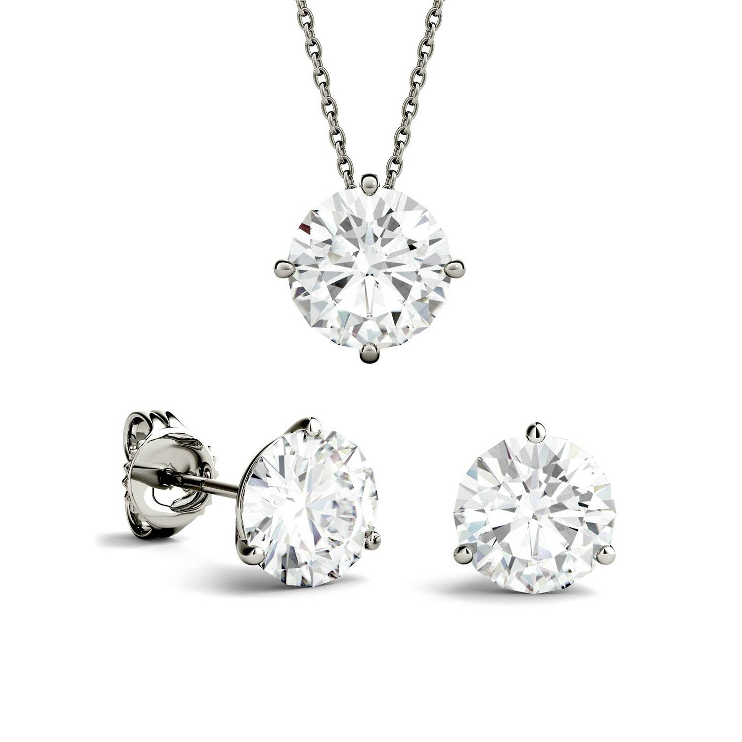 3.00 Carat tw. GIA Diamond Stud Earrings & Pendant Necklace Platinum Set