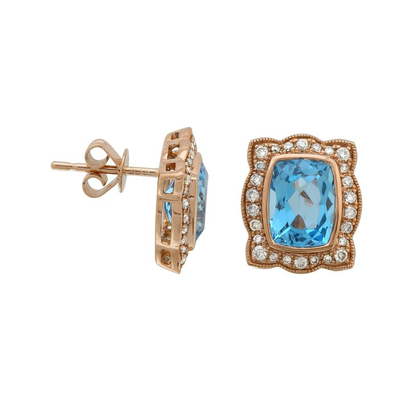 Cushion Swiss Blue Topaz & Diamond Halo Rose Gold Earrings