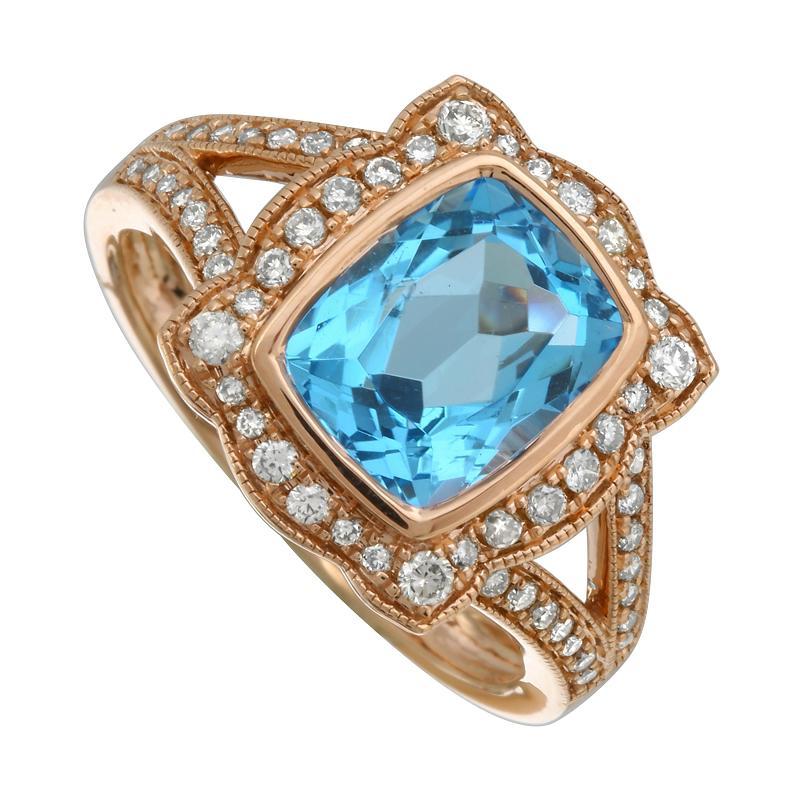 Cushion Blue Topaz & Diamond Halo Split Shank Ring
