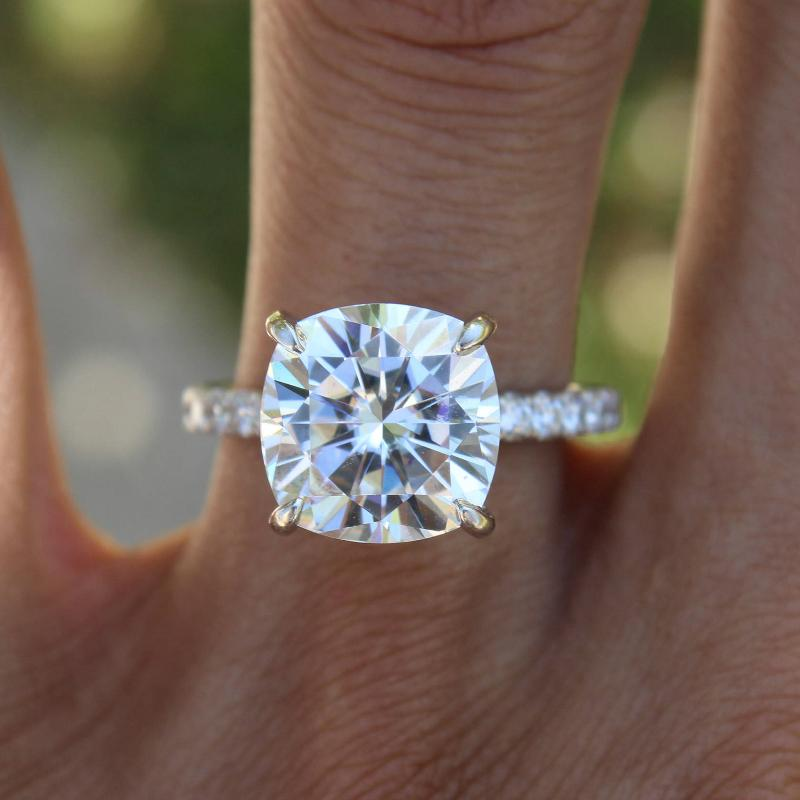 5.00 Carat Cushion Forever One Moissanite & Diamond Hidden Halo Ring
