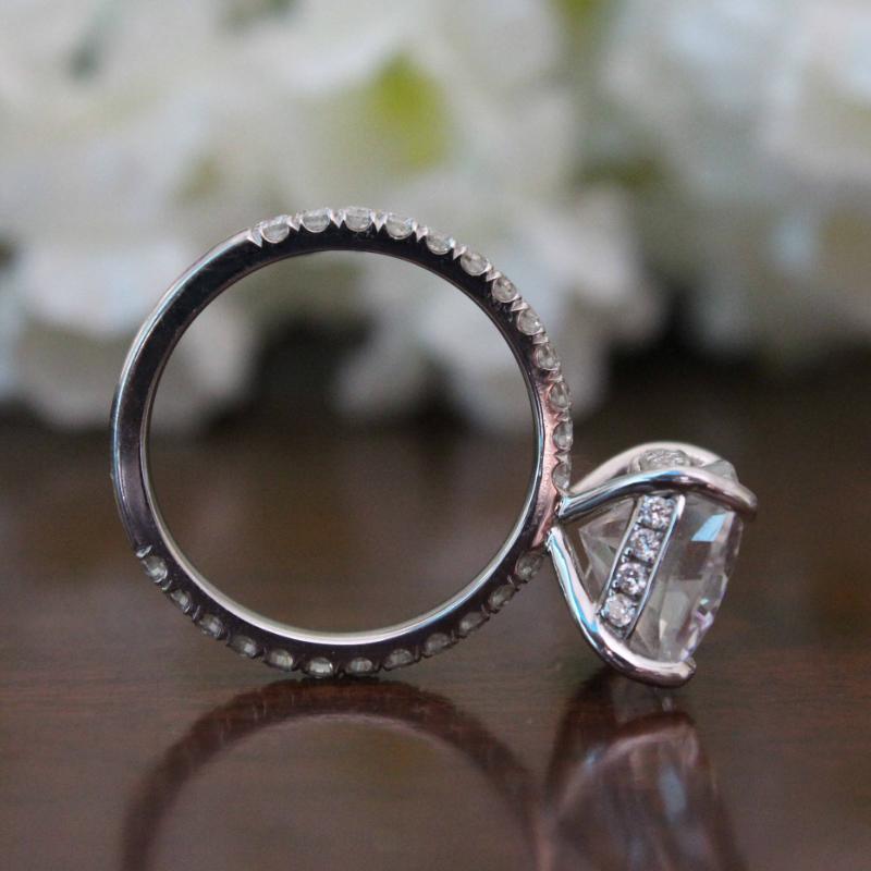 5.00 Carat Cushion Forever One Moissanite & Diamond Hidden Halo Ring