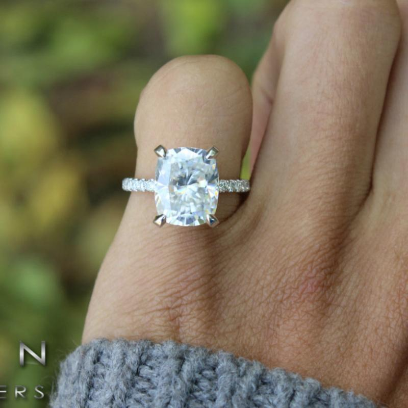 5.00 Carat Elongated Cushion Moissanite & Diamond Hidden Halo Ring