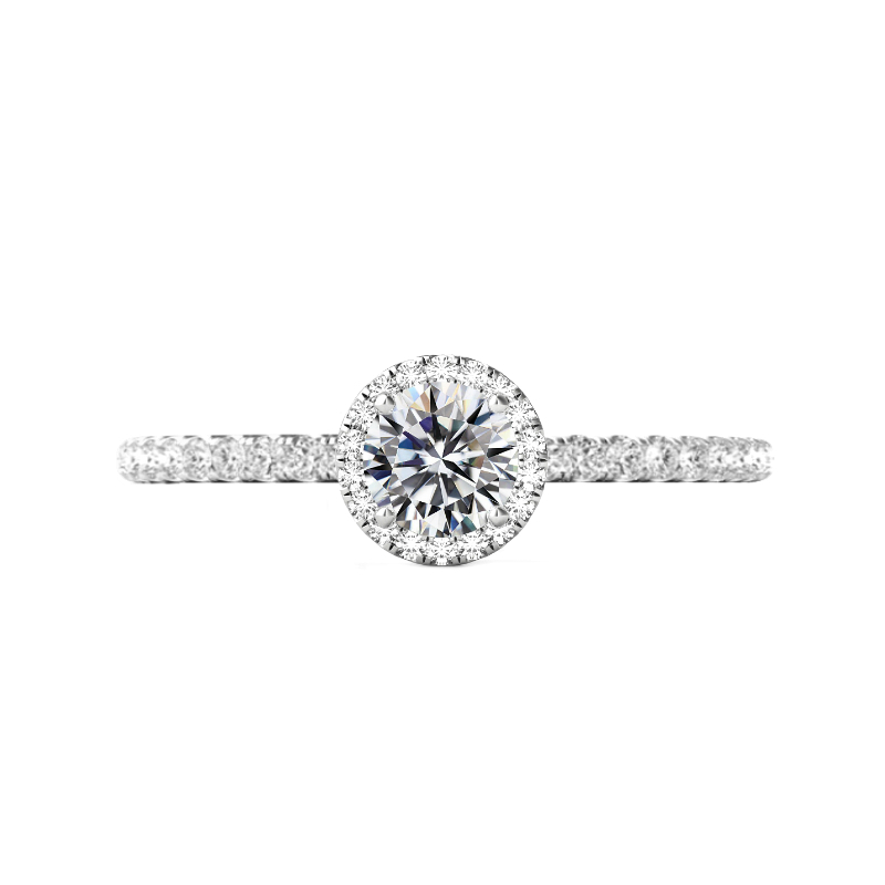 0.50 Carat Round Diamond & Halo Pave Profile Ring