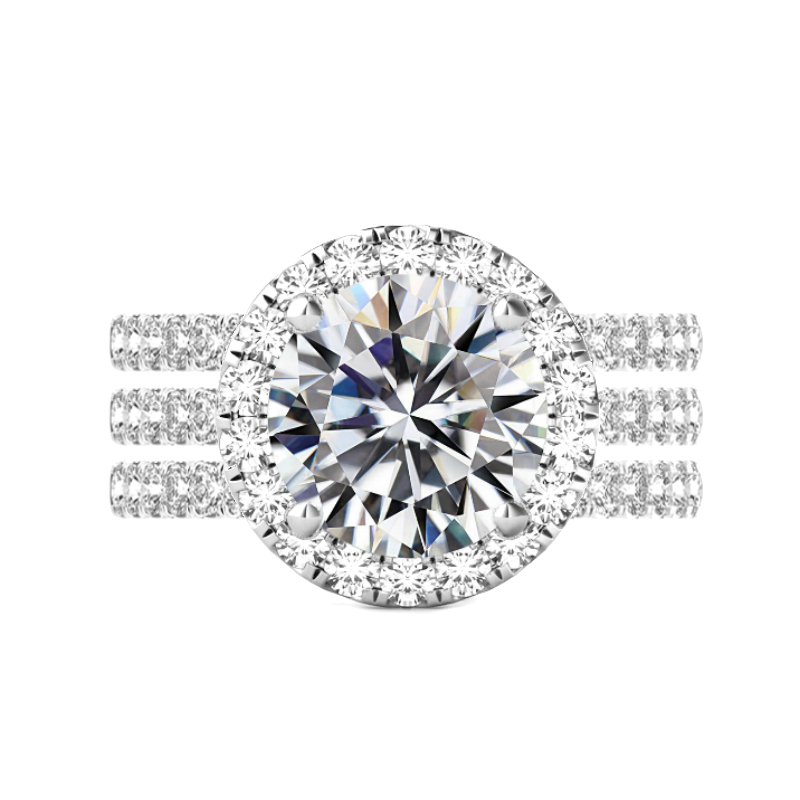 6 Carat Round Moissanite & 2mm Diamond Halo Ring Set