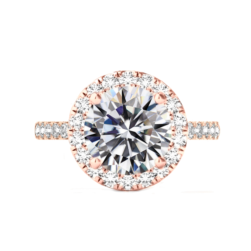 6 Carat Round Moissanite & 2mm Diamond Halo Ring Rose Gold