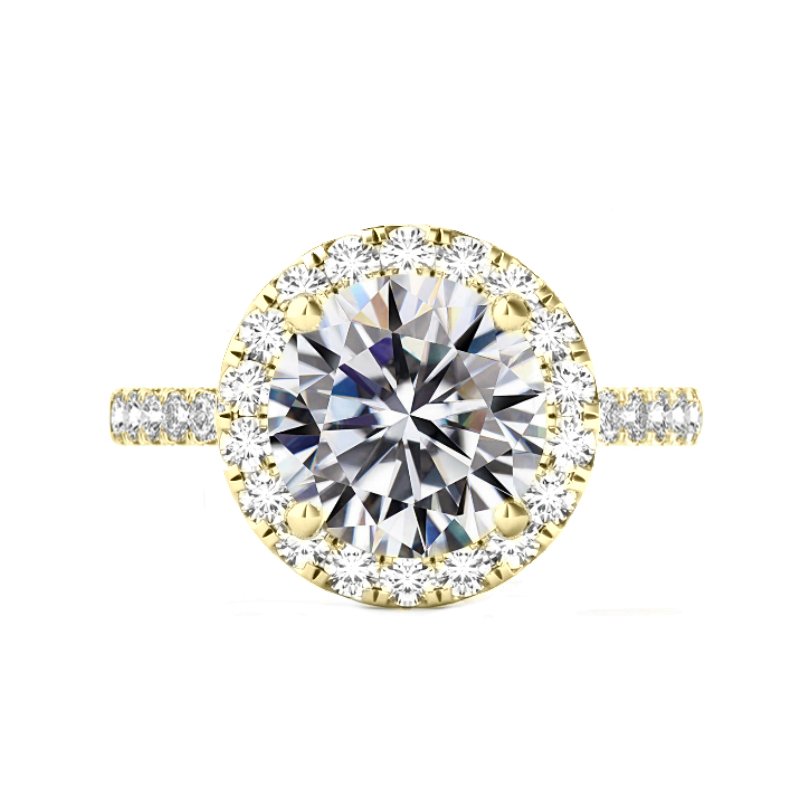 6 Carat Round Moissanite & 2mm Diamond Halo Ring Yellow Gold