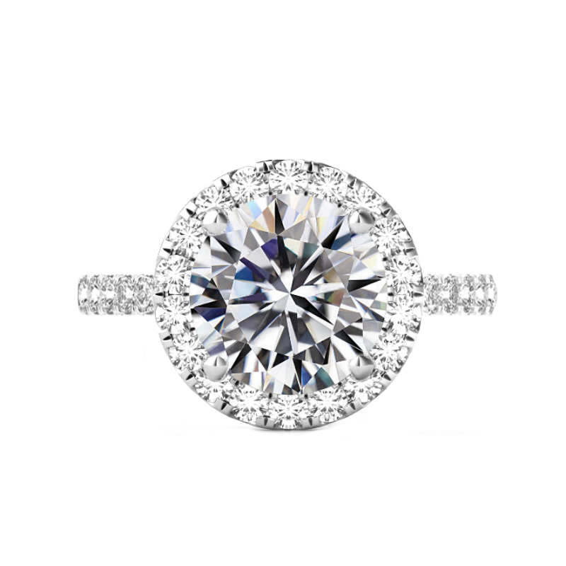 6 Carat Round Moissanite & 2mm Diamond Halo Ring White Gold