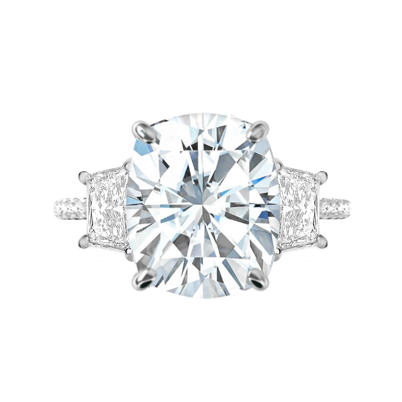 6.50 Carat Elongated Cushion Moissanite & Trapezoid Diamond Hidden Halo Ring