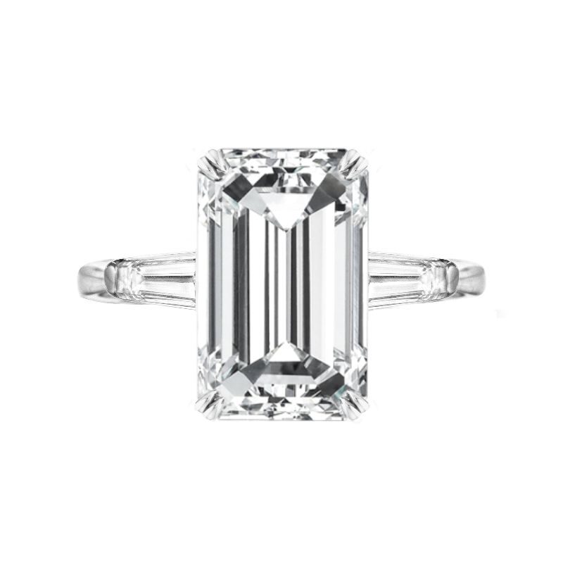 6 Carat Emerald Moissanite & Diamond Baguette Ring