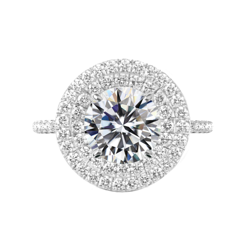 6 Carat Round Moissanite & Diamond Double Halo Ring