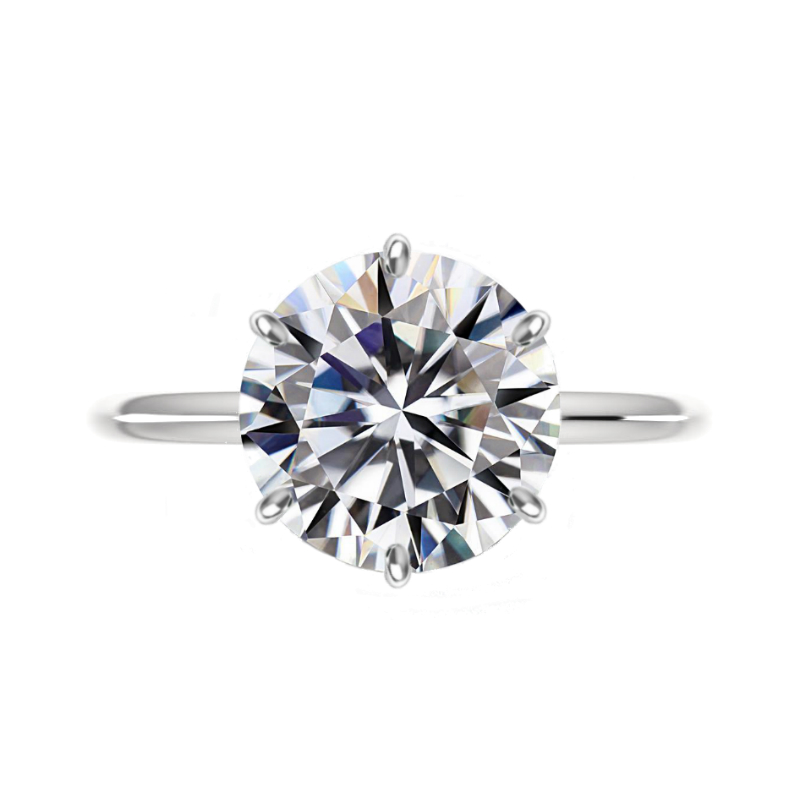 6 Carat Round Moissanite Classic Six Prong Knife Edge Solitaire