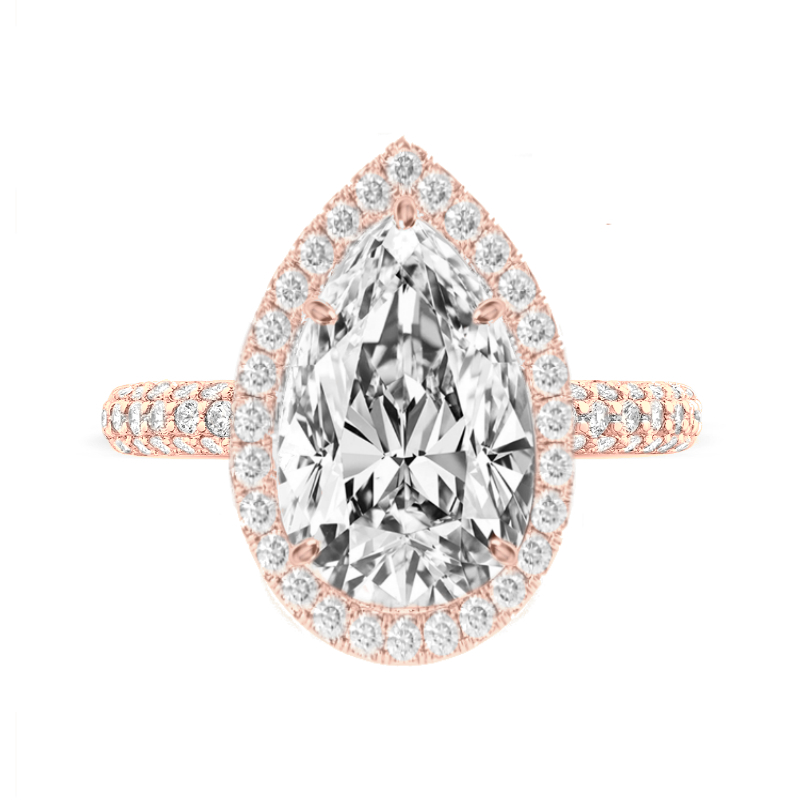 6.30 Carat Pear Moissanite & Diamond Halo Three Row Pave Ring