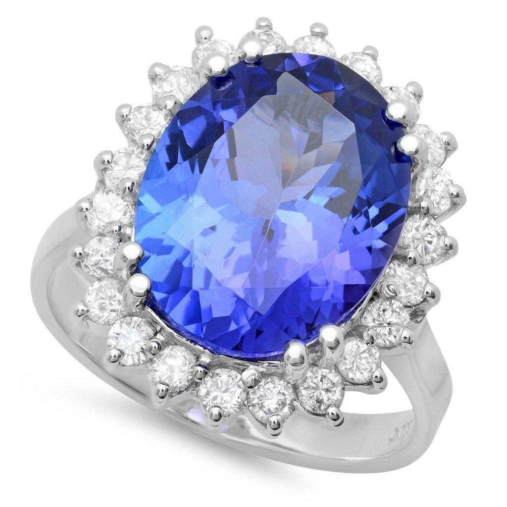 7 Carat Tanzanite & Diamond Halo Ring 18k