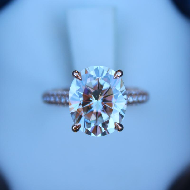 5.00 Carat Oval Moissanite & Diamond Hidden Halo Three Row Pave Ring