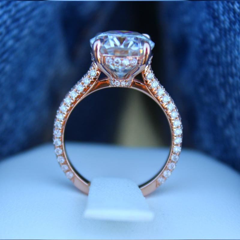 5.00 Carat Oval Moissanite & Diamond Hidden Halo Three Row Pave Ring