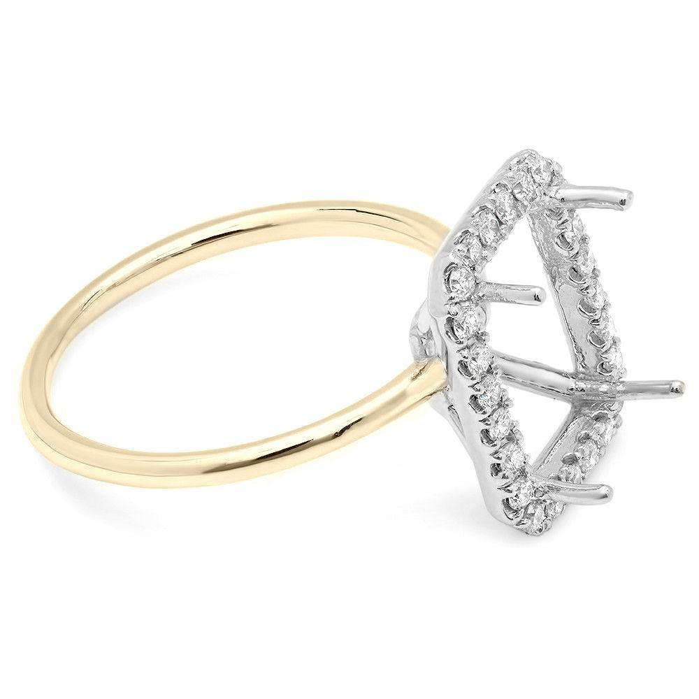 3.50 Carat Emerald Forever One Moissanite & Diamond Halo Plain Band Two Tone Ring