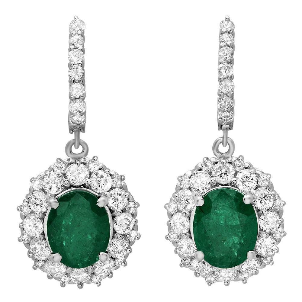 5.20 CT Emerald & 3.12 CT Diamond Earrings