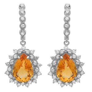 Pear Citrine & Diamond Earrings