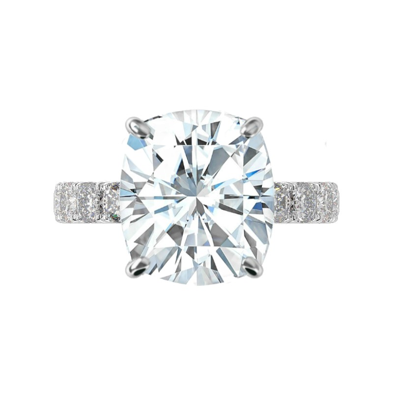 7 Carat Elongated Cushion Moissanite & 3mm Cushion Diamond Pave Ring