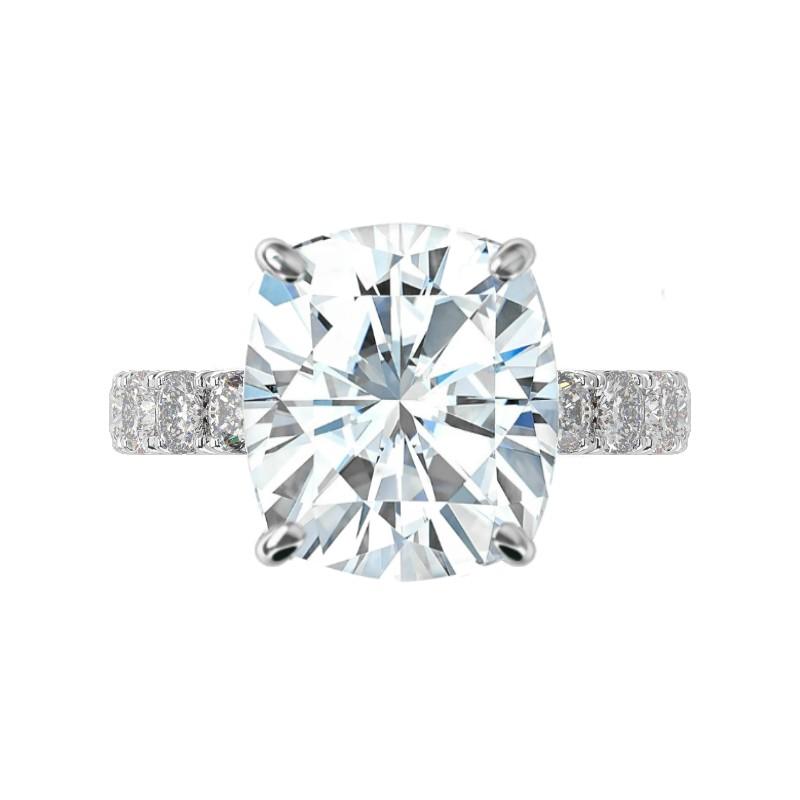 7 Carat Elongated Cushion Moissanite & 3mm Cushion Diamond Pave Ring