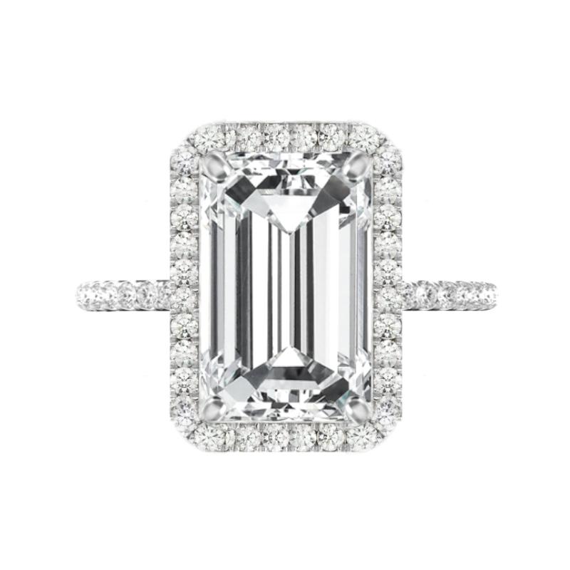 7 Carat Emerald Cut Moissanite & Diamond Halo Pave Ring
