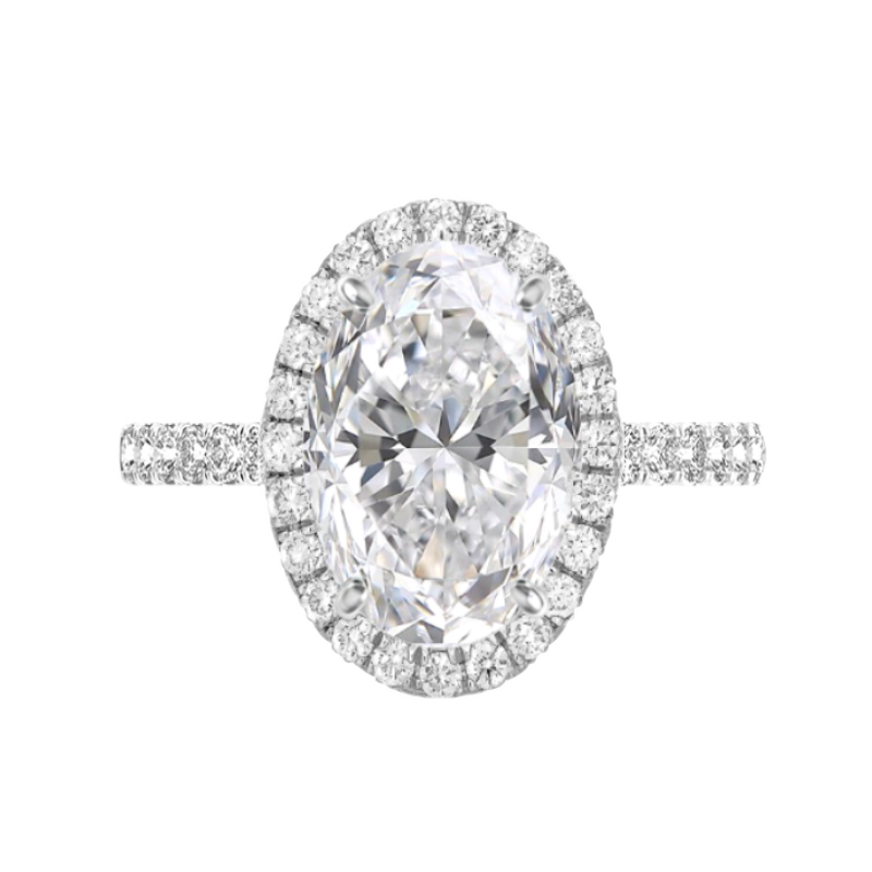 7 Carat Moissanite & 2mm Diamond Halo Ring