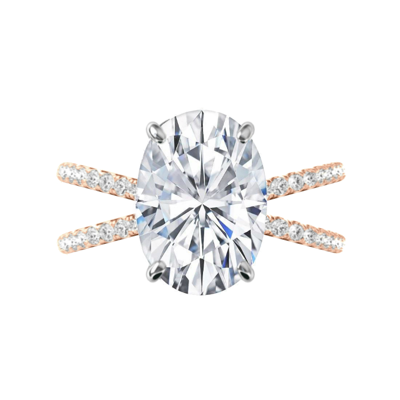 7 Carat Oval Moissanite & Diamond Criss Cross Ring
