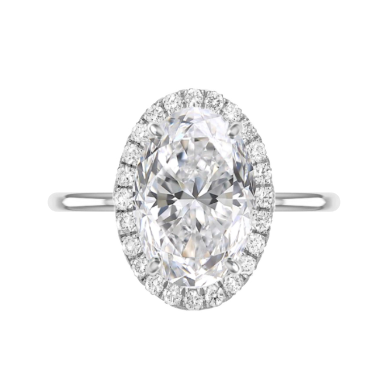 7 Carat Oval Moissanite & Diamond Double Edge Halo Solitaire
